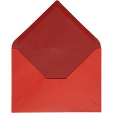 Kuvert, stl. 11,5x16 cm, 100 g, 10 st., röd/vinröd