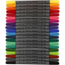Tekstiltusj, strektykkelse: 2,3+3,6 mm, standardfarger, 20stk.