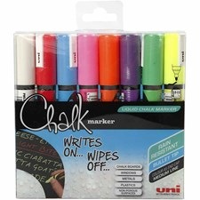 Chalk Marker, strektykkelse: 1,8-2,5 mm, ass. farger, 8stk.
