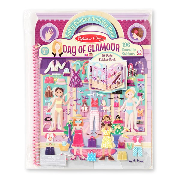 Day Of Glamour, Deluxe Puffy Stickers, Aktivitetsbok, Melissa & Doug