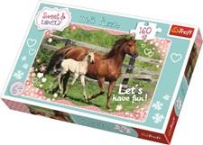 Hest med føll, Puslespill, 160 brikker, Trefl