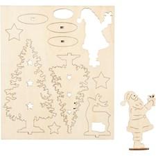 Sett-sammen-selv trefigur, julenisse, juletrær, hjort, L: 20 cm, B: 17 cm, kryssfiner, 1pk., tykkelse 3 mm