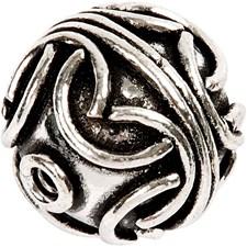 Metallpärla Stor Boll dia 20 mm Antiksilver 1 st