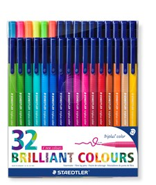 Staedtler Tuschpennor Triplus® color 32-pack,  1 mm fiberspets.