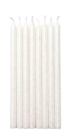 Kakelys, 16 stk., Hvit med glitter, Rico Design