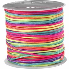 Multicolor knyttesnor, tykkelse 1 mm, 28 m, neon multi