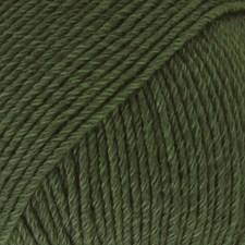 Drops, Cotton Merino Uni Colour, Garn, Ullmiks, 50 g, Mørk grønn 22