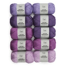 Garnpaket Adlibris Cotton Mercerized 100g Purple rain 10-pack