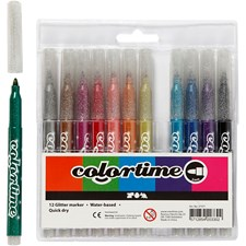 Colortime glittertusj, strektykkelse: 4,2 mm, ass. Farger, 12stk.