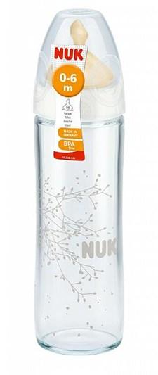 Nappflaska Glas Classic Latex Vit, Strl1 240ml, NUK
