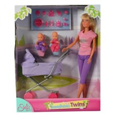 Steffi med vagn & bebisar (lila byxor)