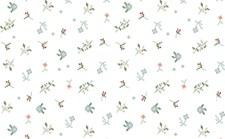 Bomullstyg Blommor Blå/Rosa 50x140cm
