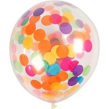 Ballonger med konfetti, dia. 23 cm, 4 stk., transparent