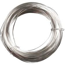 Metallilanka, paksuus 0,6 mm, hopeanväriset, 10m