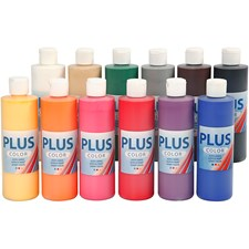 Plus Color hobbymaling, standardfarger, 12x250ml