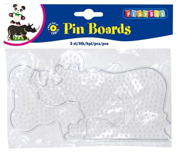 Perleplater 2 stk Teddybjørn og Nesehorn