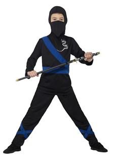 Ninja Blå/Svart Maskeraddräkt Barn (Medium)