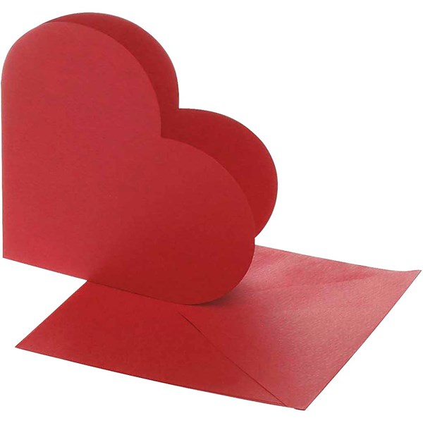 Hjertekort, kort str. 12,5x12,5 cm, konvolutt str. 13,5x13,5 cm, 10 sett, rød