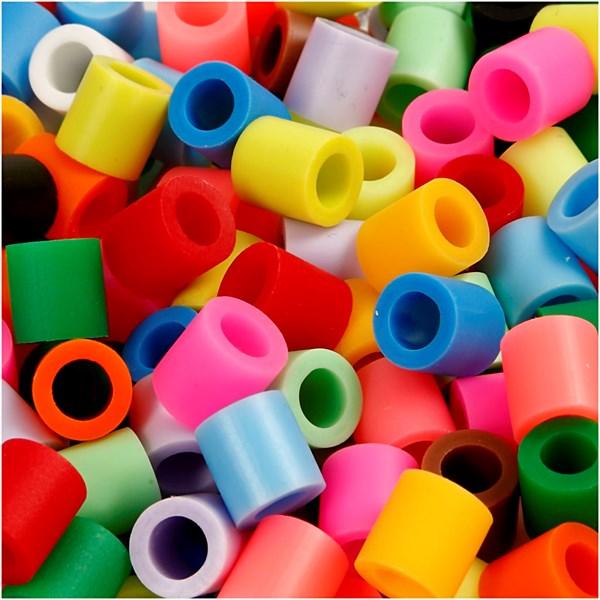 Rørperler, str. 10x10 mm, hullstr. 5,5 mm, 3200 ass., suppl. farger