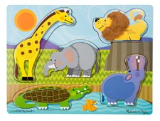 Zoo Animals, Touch & Feel, Puslespill, Melissa & Doug