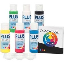 Plus Color hobbymaling - fargeskole, primærfarger, Fargeskoleveiledning følger med, 6x60ml
