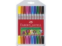 Faber-Castell Fibertusjer Dobbeltspiss Fin/Bred 10 pakning