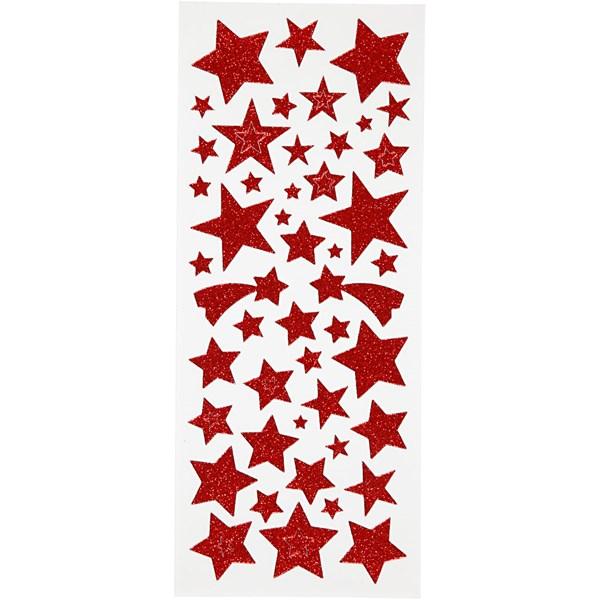Glitterstickers, ark 10x24 cm, ca. 110 stk., rød, stjerner, 2ark
