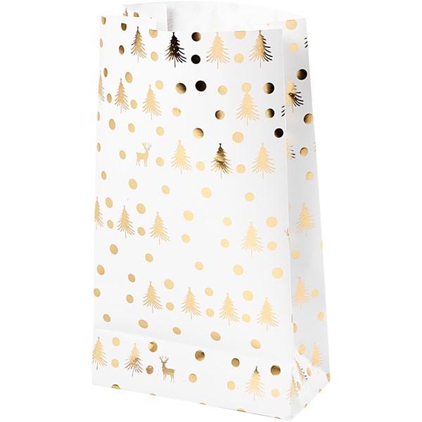 Papirposer, H: 21 cm, str. 6x12 cm, hvit, gull, juletre med hjort, 8stk.