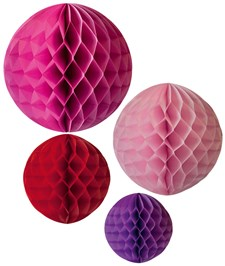 Honeycomb PARTY -koristeet, vaaleanpunainen, Jabadabado