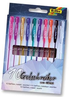 Blackstyle gel pennor 10 pennor sorterade färger metallic