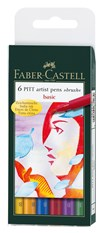 Soft Brush Pen Pitt Artist Faber-Castell 6-pack Basfärger