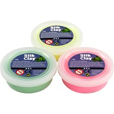 Silk Clay® , vaaleanvihreä, neonkeltainen, neonpinkki, 3x14g