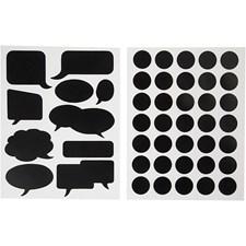 Tavlestickers, ark 14x18 cm, svart, sirkler og snakkebobler, 2ass. ark