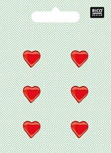 Nappi, Sydän, punainen 6 kpl, 1,5cm