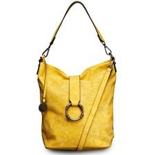Laukku, perforoitu, metallinhohtoinen keltainen