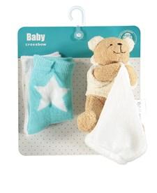 Presentkit Babystrumpa + Snuttefilt, Blå/vit, Crossbow