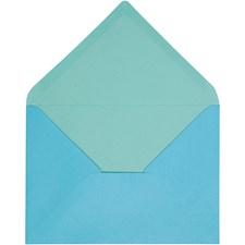 Kuvert, stl. 11,5x16 cm, 100 g, 10 st., ljusturkos/mörkturkos