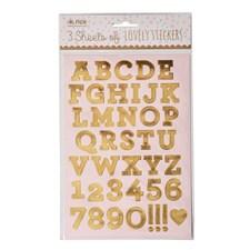 Klistermärken, Guld siffror/bokstäver, Rice