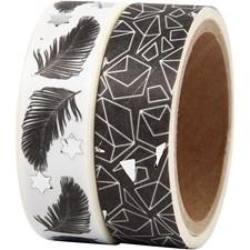 Maskerings tape, B: 15 mm, , fjær og mønster - foil, 2x4m