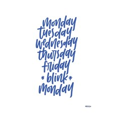 Monday Tuesday poster by Ink & Lise A4