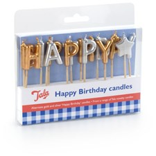 Tala Tårtljus Happy Birthday Guld/Silver