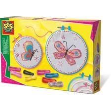 SES Embroidery set butterflies - Kirjailutarvikesarja Perhoset