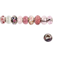 Glass links - harmoni, dia. 13-15 mm, hullstr. 4,5-5 mm, 10 ass., rosa harmoni
