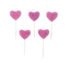 Tårtljus, Rico, Hjärtan, Rosa med Glitter, 5 st.