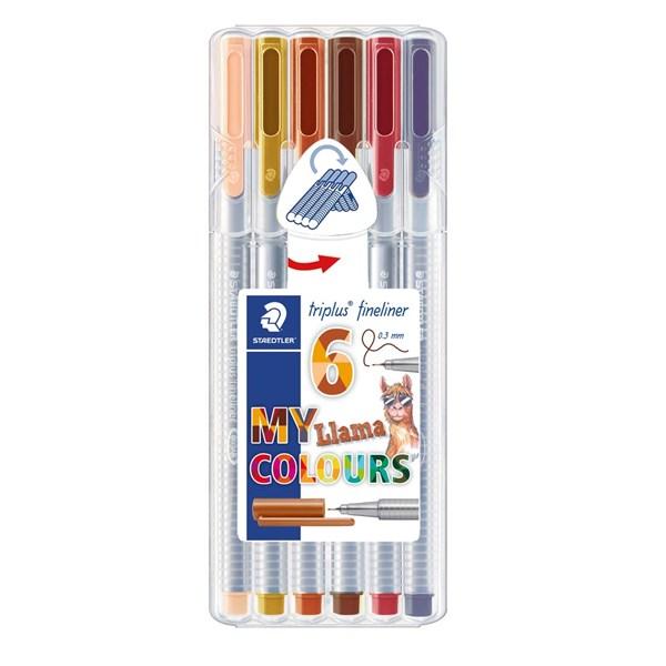 Triplus® fineliner 6-pack, i STAEDTLER-box, 0,3 mm fiberspets. Llama