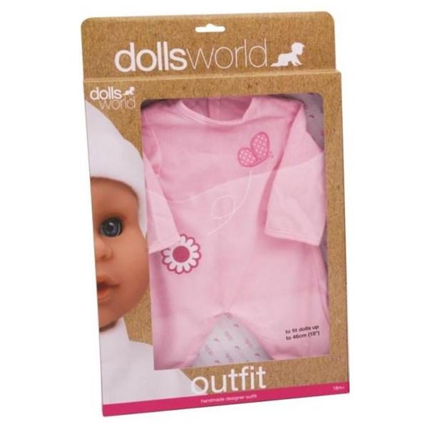 Dock Outfit  rosa Med Blomma & Fjäril  Dollsworld - dockor & tillbehör