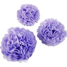Pompomit, halk. 20+24+30 cm, 16 g, 3 kpl, lila