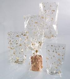 Cellofanpåse med guld jul tryck 180*300mm 10st/fp