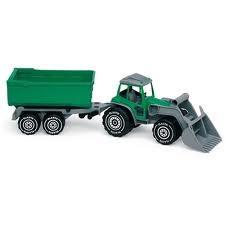 Traktor (grønn) med frontlaster og tilhenger, Plasto