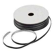 Koristenauha, lev. 4 mm, 20 m, musta/valkoinen